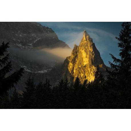 Wydruk na piance - Mnich o wschodzie słońca